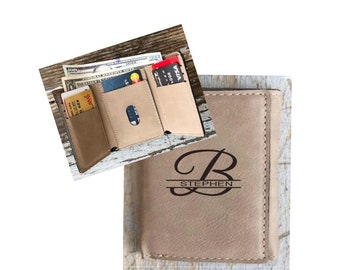 Personalized Leather Wallet, Tri-fold, Brown, Engraved Groomsman, Best Man Gift