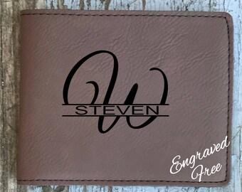 Personalized Bi-fold Wallet Dark Brown Engraved Groomsman Best Man Gift