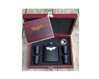 Deluxe Batman Dark Knight Inspired 6 Piece Flask Set With Wood Box Groomsman Best Man Gift Super Hero