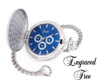 Pocket Watch Pesonalized - Speidel Quartz Silver Finish Engraved Free-Warranty