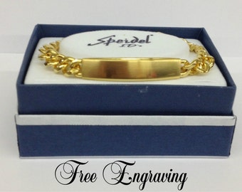 ID Bracelet Mens - Custom Hand Engraved Free - Mens Brushed Gold Plated Mens Personalized ID Bracelet Fathers Day Gift