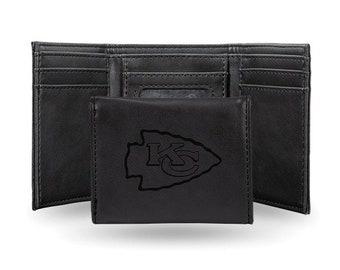 Kansas City Chiefs Licensed Black Leatherette Trifold Wallet