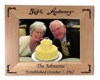 50th Anniversary Picture Frame Landscape Personalized 5 x 7 Photo (Engraved As You Like)