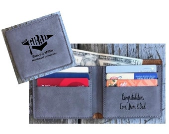 Bi-fold Wallet Personalized, Graduation Gift Engraved Gray Leatherette