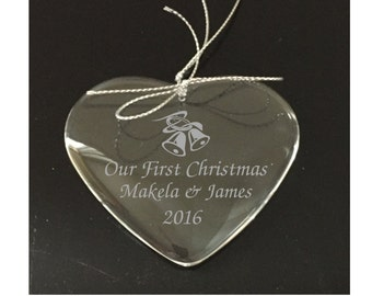 Personalized Our 1st Christmas Together Ornament With Bells - Crystal Engraved