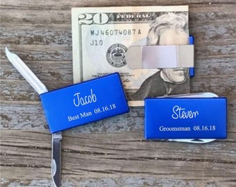 Groomsman Gift Money Clip With Knife & File Best Man Usher Gift Blue Personalized Groomsman