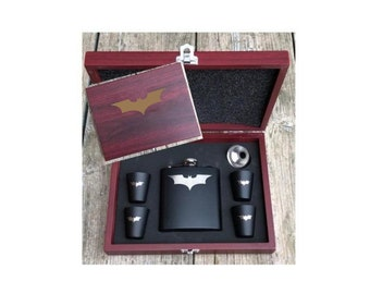 Deluxe Batman Dark Knight Inspired 6 Piece Flask Set With Wood Box Groomsman Best Man Gift Box, Flask and 4 Shot Glasses Engraved