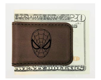 Personalized Money Clip Spiderman Inspired Magnetic Leatherette Brown