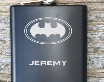 Batman Inspired Flask Engraved Bachelor Party Gift Groomsmen
