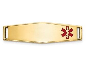 14K Gold Medic ID Faceplate Personalized Ladies Medical History Alert Custom