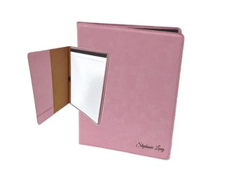 """Personalized Leather Portfolio with Notepad, Personalized Business Gift, 9 1/2"""" x 12"""" Customized Leatherette Portfolio, Custom Engraved,Pink"""