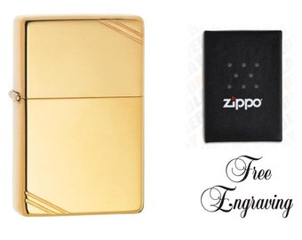 Personalized Brass Zippo Lighter, Vintage Style, Custom Hand Engraved Zippo Lighter