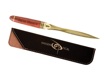 Deluxe Personalized Letter Opener, Engraved Wood and Brass Letter Opener, Personalized Leather Sleeve,