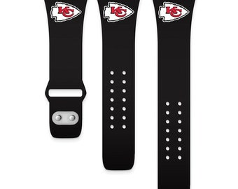 KC Chiefs Licensed Black Silicon Apple Watch Band fits (42/44mm Black)Kansas City Chiefs