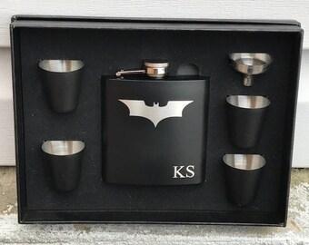 Personalized Batman Dark Knight Inspired Flask Gift Set Dad Groomsman Best Man