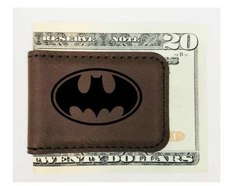 Personalized Money Clip Batman Inspired Magnetic Leatherette Brown