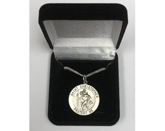St. Christopher Necklace, Round Pendant, Patron Saint Medal, Personalized Saint Christopher