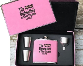 Personalized Godmother Gift, Engraved Godmother Flask Set, Gift For Godmother, Godmother Proposal Gift, Gift Box