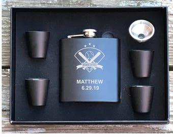 Baseball Flask Set, Gift For Baseball Fan, Groomsman Gift, Best Man Gift, Baseball Gift