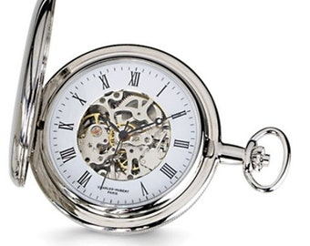 Mens Pocket Watch Silver Finish, Personalized Pocket Watch, Charles Hubert, Silver Finish, White Skeleton Dial Pocket Watch, Engraved