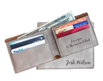 Personalized Mens Wallet, Brown Bi-fold Wallet, Monogrammed Wallet, Fathers Day Gift, Monogrammed Dad Gift, Groomsman Gift