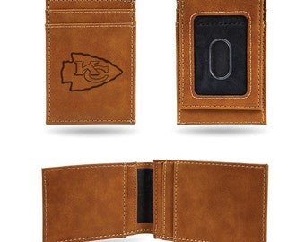 Kansas City Chiefs Licensed Brown Leatherette Front Pocket Wallet NFL Kansas City Chiefs Brown