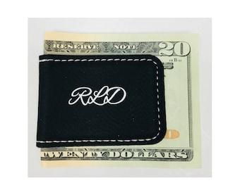 Personalized Money Clip Groomsman Best Man Usher Gift Magnetic Leatherette Black