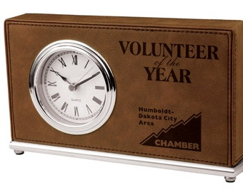 Personalized Desk Clock Brown Leather Soft Finish Custom Engraved