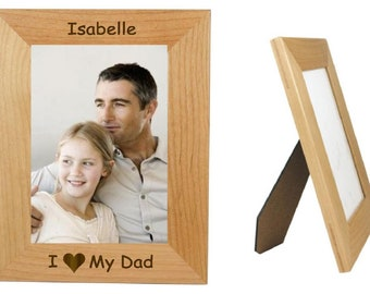 """Fathers Day Gift, I Love My Dad, 5"""" x 7"""" Picture Frame, Personalized Photo Frame. Gift For Dad. (Engraved As You Like)"""