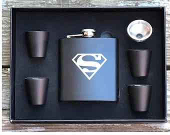 Superman Inspired 6 Piece Flask Set With Gift Box Groomsman Best Man Gift
