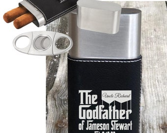 Godfather Gift Personalized, Cigar Case Engraved, New Baby Gift, Baby Baptism Gift, Monogrammed Godfather Gift