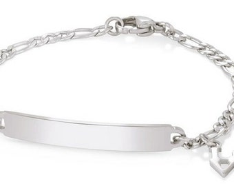Personalized Girls ID Bracelet Silver for toddlers