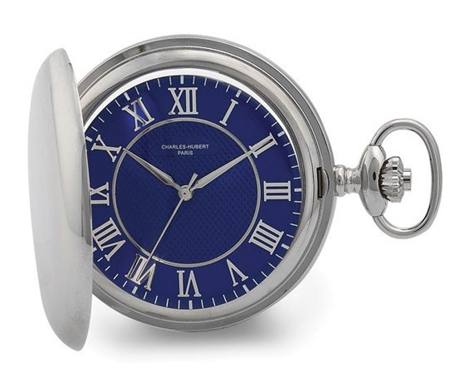 Mens Pocket Watch Silver, Personalized Pocket Watch, Chrome Silver Finish, Blue Dial Faceplate, Engraved