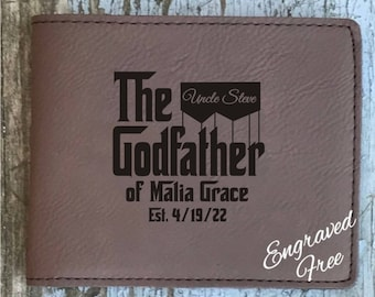 Godfather Inspired Wallet Personalized Custom Options Godfather Gift, Baptism Gift, Godfather Proposal, Gift For Godfather