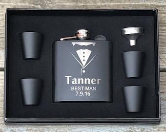 2 ea.Personalized Flask Gift Set Groomsman Best Man Engraved Wedding Engraved Black
