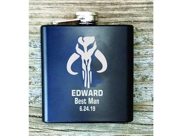 Star Wars Inspired Flask, Engraved Groomsman Gift, Star Wars Gift, Mandalorian