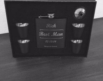 Personalized Groomsmen Flask Set 7pc., Best Man Gift, Groomsman Gift, Engraved Flask, Wedding Party Gifts, Groomsmen Gift, Best Man Flask