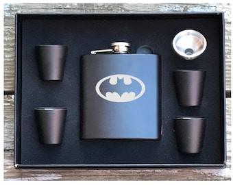 Batman Inspired 6 Piece Flask Set With Gift Box Groomsman Best Man Gift