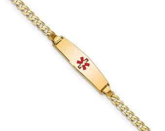 "Personalized 14K Gold Semi-Solid Medic ID Bracelet Ladies 6"" Medical History Alert Custom"