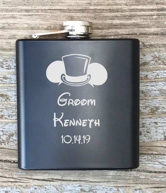 Personalized Flask Disney Inspired Groom Engraved Groomsmen Best Man Groomsman