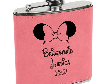 Personalized Flask Disney Inspired Pink Leatherette Engraved Maid of Honor, Bridesmaid, Matron of Honor, Best Woman