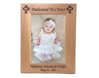 """Personalized Baby Photo Frame With Cross, Holds 5"""" x 7"""" Photo, Engraved Free Wood Frame"""