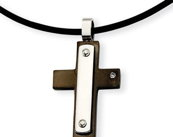 Mens Cross, Boys Cross, Polished Stainless Steel Cross, Leather Necklace, CZ Accent