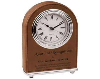 Personalized Desk Clock Brown Leather Silver Trim Accents Custom Engraved