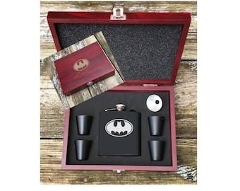 Deluxe Batman Inspired 6 Piece Flask Set With Wood Box Groomsman Best Man Gift Super Hero