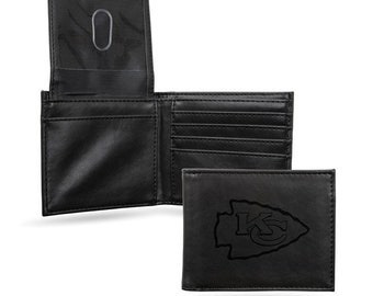 Kansas City Chiefs Licensed Black Leatherette Bifold Wallet