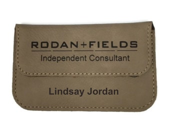 Rodan and Fields Business Card Holder, Personalized Leather Card Holder