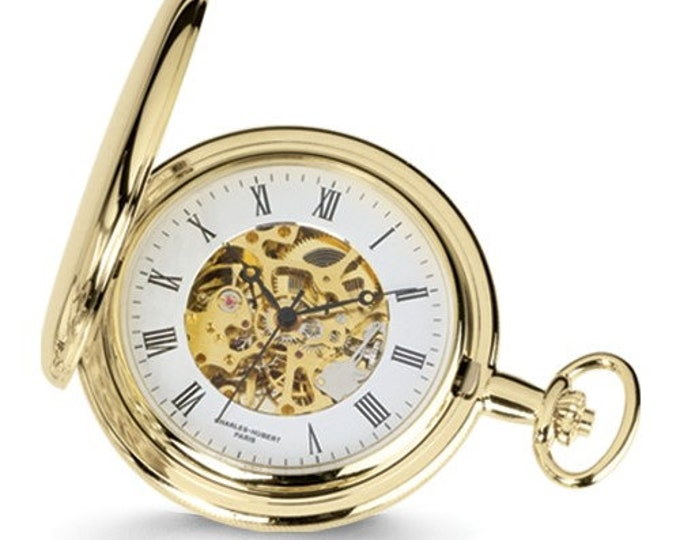 Mens Pocket Watch Gold Finish, Personalized Pocket Watch, Charles Hubert, 14k Gold Finish, White Skeleton Dial Pocket Watch, Engraved