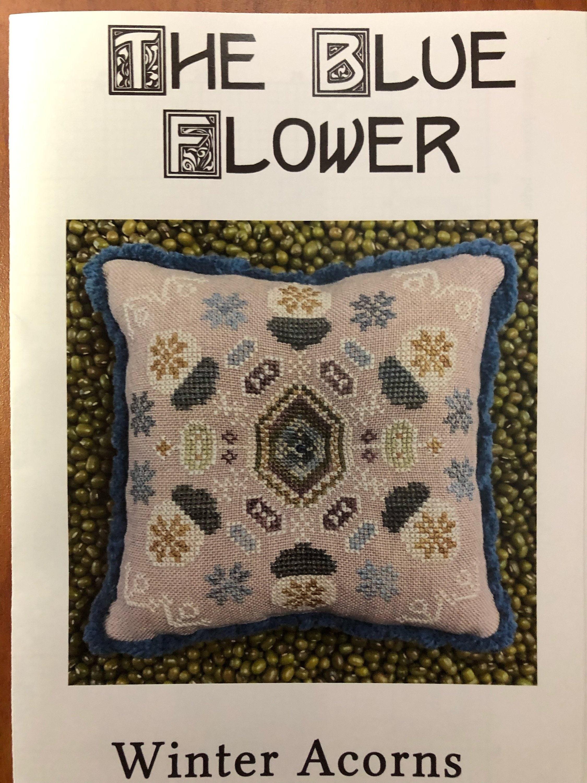Blue Flower Winter Acorns cross stitch pattern