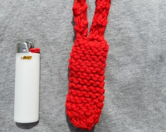 Red Lighter Necklace, Lighter Pouch, Pocket, Cozy, Leash, Knit, Handmade, Lanyard, Free Shipping, Slip On, Hippie, Bright, Festival, Knitted